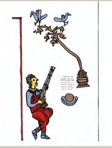 Ловна сцена от стр. 193 на минея (в оригинала краката на гълъбите са червени)