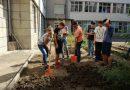 """Ученици от пети, шести и седми клас на СУ """"Емилиян Станев"""" подготвиха вътрешния двор на гимназията си за зимата"""
